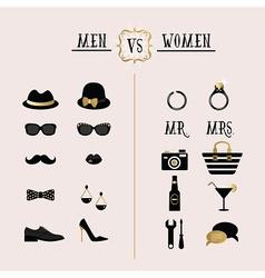 Hipster Men Vs Women accessories design icons set vector image