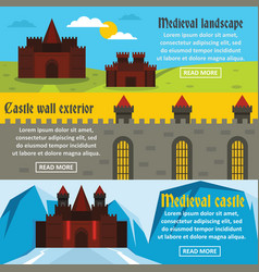 medieval castle banner horizontal set flat style vector image vector image