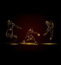 basketball players set vector image