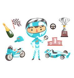 boy speed racer kids future dream professional vector image vector image