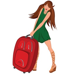 Cartoon young woman green dress and red suitcase vector image vector image