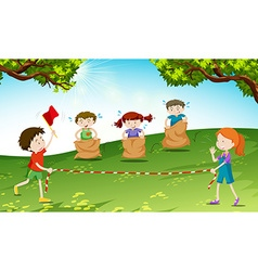 Children playing game at the field vector image vector image