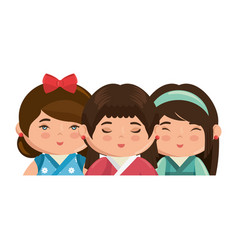 Cute japanese girls cartoon vector