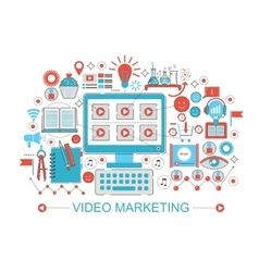 Modern Flat thin Line design digital video vector image vector image