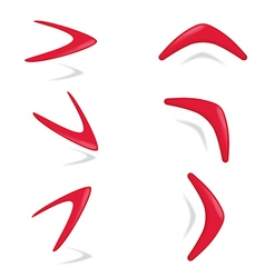 Red color boomerang different foreshortening vector image vector image