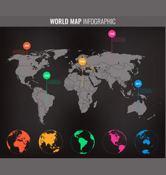 World map infographic template all country are vector