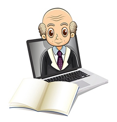 An electronic gadget with a bald old man vector image vector image