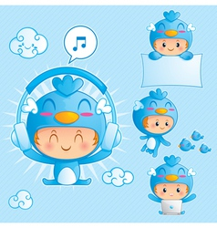character set of a boy in blue bird costume vector image vector image