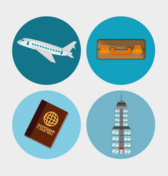 collection travel elements concept vector image