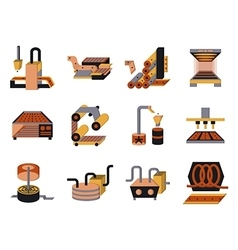 Flat color icons for food processing vector