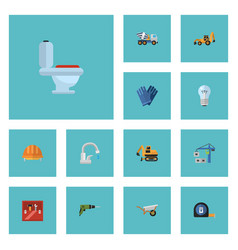 flat icons excavator bulb hardhat and other vector image vector image