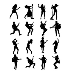 Singer and Guitarist Silhouettes vector image