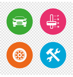 transport icons tachometer and repair tool vector image vector image