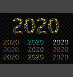 2020 broken colored numbers vector image