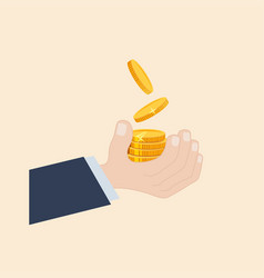 A hand tossing up coins vector