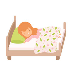 Adorable smiling red haired little girl sleeping vector