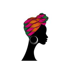 African woman in traditional ankara textile turban vector