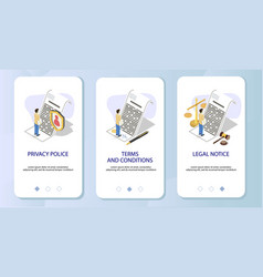 agreement checking mobile app onboarding screens vector image