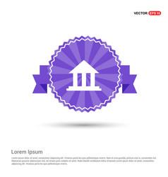 Bank icon - purple ribbon banner vector
