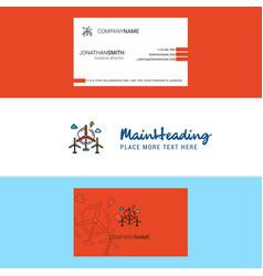 beautiful air turbine logo and business card vector image