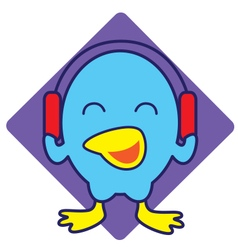 Bird Listening Music vector image