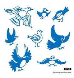 Birds set vector image