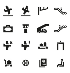 black airport icon set vector image