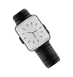 Black classic analog watch wearable technology vector