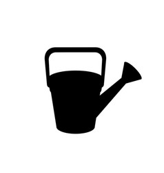 black silhouette of watering can on white vector image