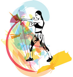 boxing training woman in gym vector image