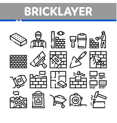 Bricklayer industry collection icons set vector