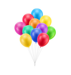Bundle colored balloons isolated vector