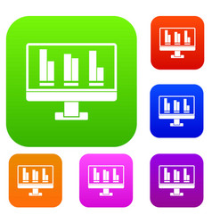 business graph at computer screen set color vector image