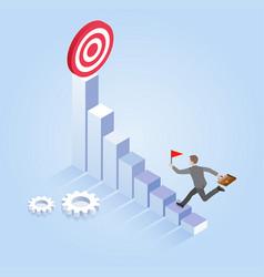 Businessman run to target isometric vector