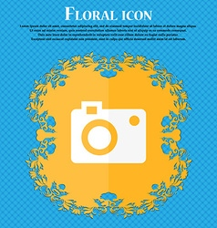 Camera icon Floral flat design on a blue abstract vector