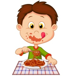 Cartoon boy eating spaghetti vector