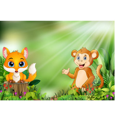 cartoon of the nature scene with a baby fox standi vector image