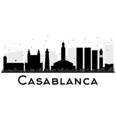 Casablanca City skyline black and white silhouette vector image