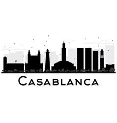 Casablanca city skyline black and white silhouette vector