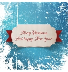Christmas greeting paper Label and red Ribbon vector image