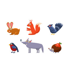 Collection wild forest animals hare grouse vector