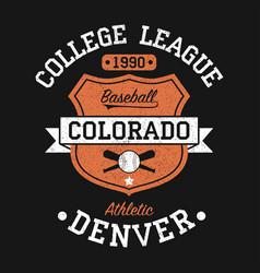 colorado denver vintage baseball graphic vector image