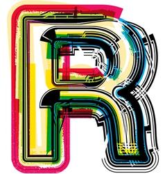 Colorful Grunge font LETTER R vector image