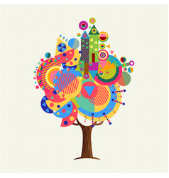 colorful tree concept with fun geometric shapes vector image