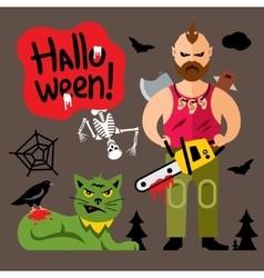 Comic Crazy maniac Halloween Scene Cartoon vector