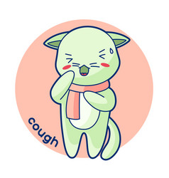 Cough sick cute kitten kawaii cat vector