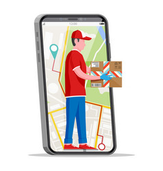 courier character holds parcel in his hands vector image