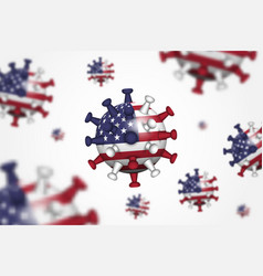 covid-19 3d floating corona virus with america vector image