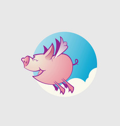 cute flying pig cartoon character vector image