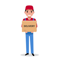 delivery man is holding a parcel box vector image
